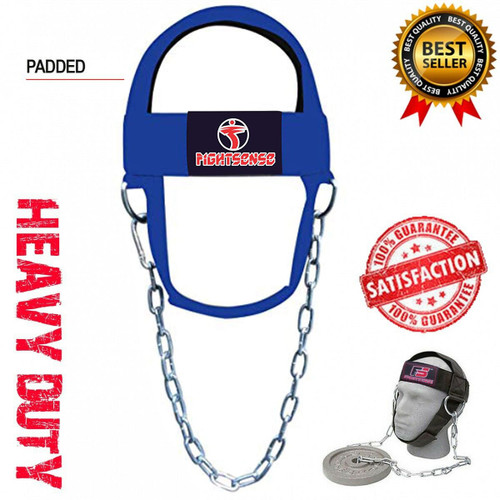 Head Neck Harness Strap Neck Support Dip Weight Lifting With Chain Blue