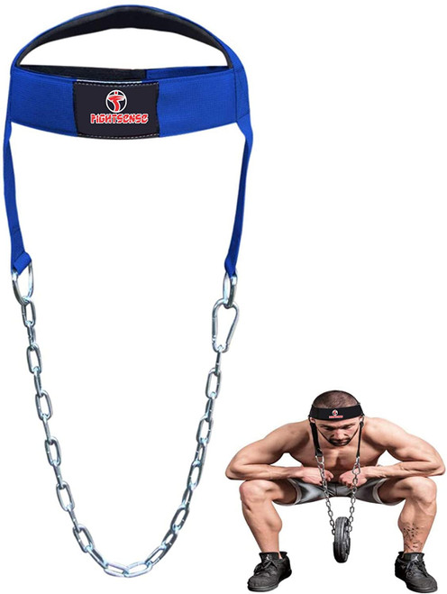 Head Neck Harness Long Strap Neck Support Dip Weight Lifting With Chain Blue