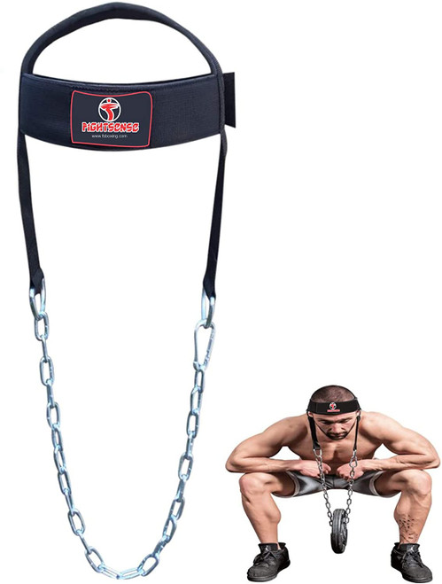 Head Neck Harness Long Strap Neck Support Dip Weight Lifting With Chain Black
