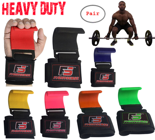 Heavy Duty Weight Lifting Steel Hooks Wrist Support Straps Power Gripper Pair