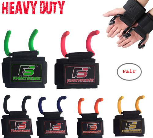 Heavy Duty Weight Lifting Steel Rod Hooks Wrist Support Straps Power Gripper Pair