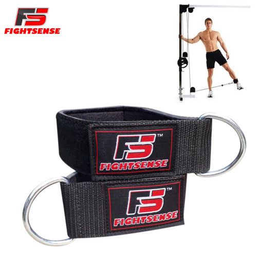 Ankle D-Ring Strap Thigh Pulley Lifting Padded Multi GYM Cable Attachment Black