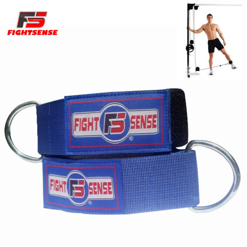 Ankle D-Ring Strap Thigh Pulley Lifting Padded Multi GYM Cable Attachment Blue