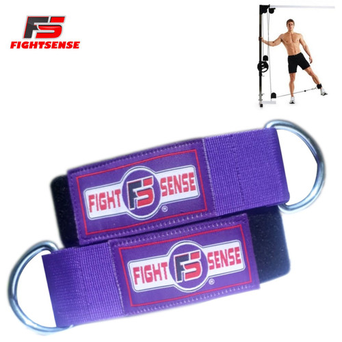 Ankle D-Ring Strap Thigh Pulley Lifting Padded Multi GYM Cable Attachment Purple