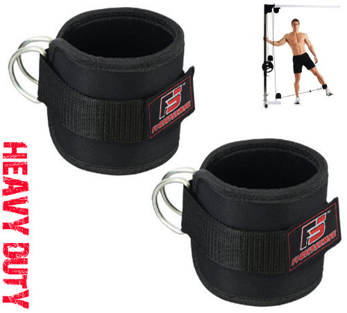 Ankle D-Ring Strap Thigh Pulley Lifting Paded Multi GYM Cable Attachment Pair Black