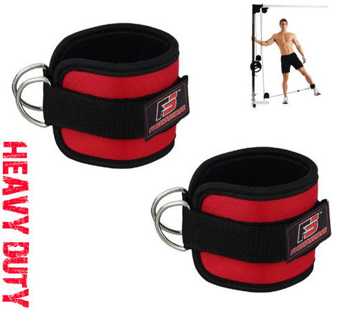 Ankle D-Ring Strap Thigh Pulley Lifting Paded Multi GYM Cable Attachment Pair Red