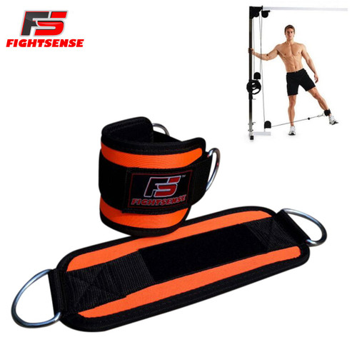 Ankle D-Ring Strap Thigh Pulley Lifting Paded Multi GYM Cable Attachment Pair Orange