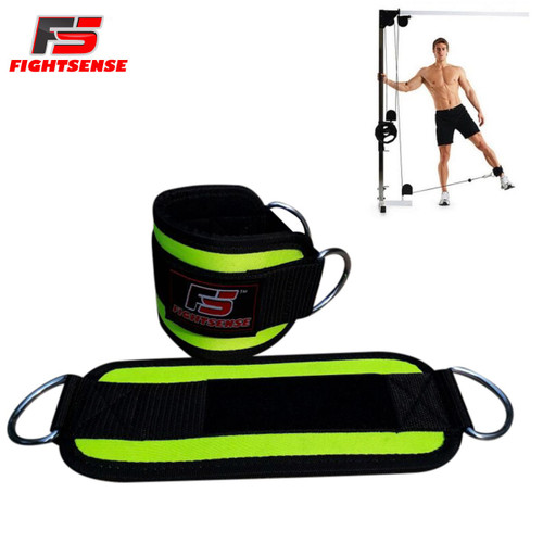Ankle D-Ring Strap Thigh Pulley Lifting Paded Multi GYM Cable Attachment Pair Green