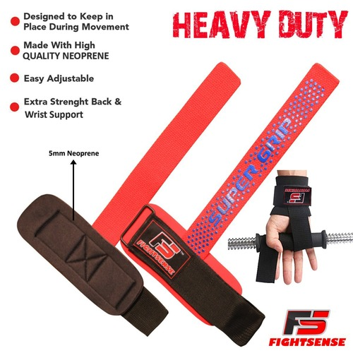 FIGHTSENSE Weightlifting Supper Grip Strap Red Color www.fsboxing.com