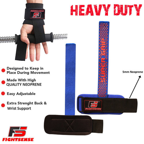 FIGHTSENSE Weightlifting Supper Grip Strap Blue Color www.fsboxing.com
