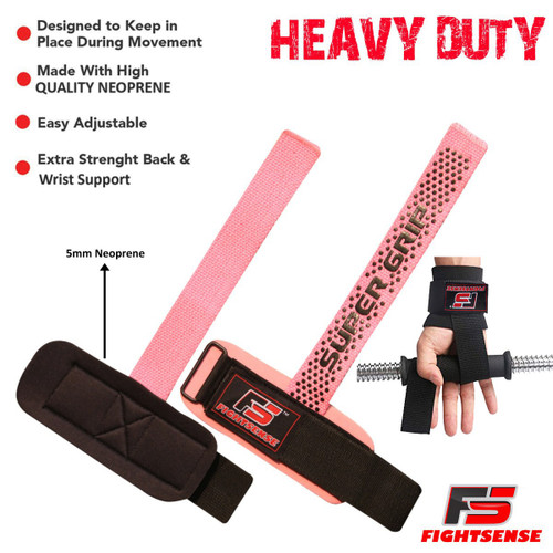 FIGHTSENSE Weightlifting Supper Grip Strap Pink Color www.fsboxing.com