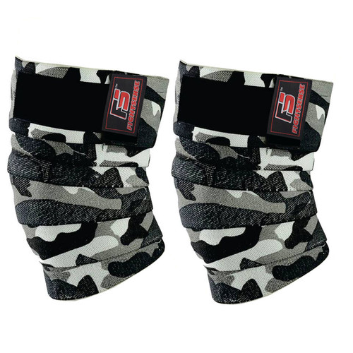 FIGHTSENSE Knee Wraps  Ideal for Squats, Powerlifting,Gym,Bodybuilding, Weightlifting, Cross Training WODs & Gym Workout Camouflage Gray Color www.fsboxing.com