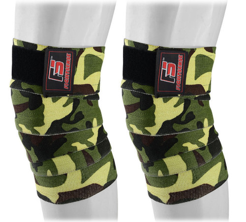 FIGHTSENSE Knee Wraps  Ideal for Squats, Powerlifting,Gym,Bodybuilding, Weightlifting, Cross Training WODs & Gym Workout Camouflage Green Color www.fsboxing.com