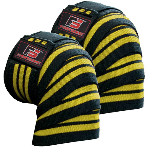 FIGHTSENSE Knee Wraps  Ideal for Squats, Powerlifting,Gym,Bodybuilding, Weightlifting, Cross Training WODs & Gym Workout Yellow Color www.fsboxing.com