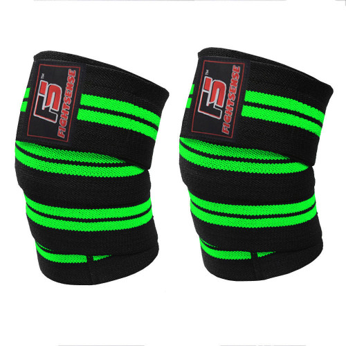 FIGHTSENSE Knee Wraps  Ideal for Squats, Powerlifting,Gym,Bodybuilding, Weightlifting, Cross Training WODs & Gym Workout Green Color www.fsboxing.com www.fsboxing.com