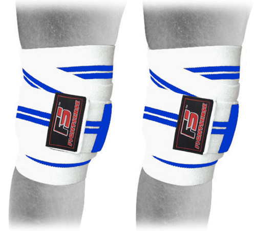 FIGHTSENSE Knee Wraps  Ideal for Squats, Powerlifting,Gym,Bodybuilding, Weightlifting, Cross Training WODs & Gym Workout White & Blue www.fsboxing.com www.fsboxing.com