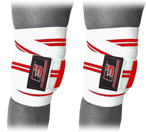 FIGHTSENSE Knee Wraps  Ideal for Squats, Powerlifting,Gym,Bodybuilding, Weightlifting, Cross Training WODs & Gym Workout Red & White     www.fsboxing.com www.fsboxing.com