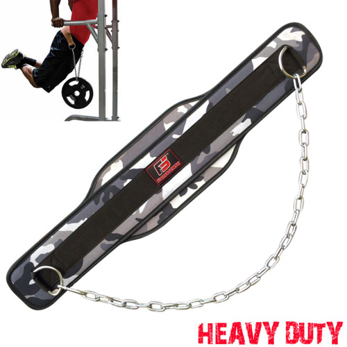 Strength Training Bodybuilding Durable Leather Dipping Belt with Heavy Duty Chain for Weight Lifting Workout