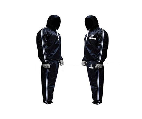 FIGHTSENSE Sauna Suit Silver Hood www.fsboxing.com