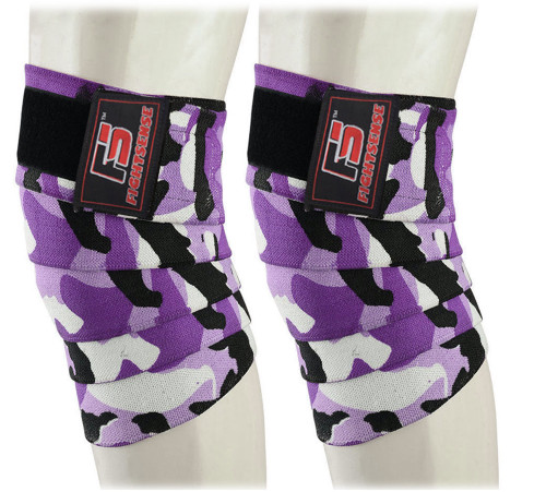 FIGHTSENSE Knee Wraps  Ideal for Squats, Powerlifting,Gym,Bodybuilding, Weightlifting, Cross Training WODs & Gym Workout Camouflage Purple Color www.fsboxing.com