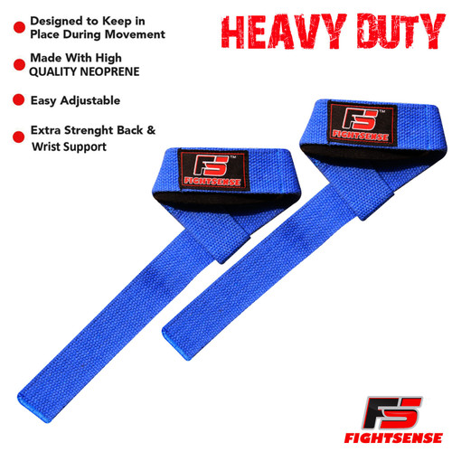 FIGHTSENSE Weight Lifting Straps - Padded Wrist Support Non Slip Supper Gel Grip - Great for Powerlifting, Bodybuilding, Gym Workout, Strength Training, Deadlifts & Fitness Workout Blue www.fsboxing.com