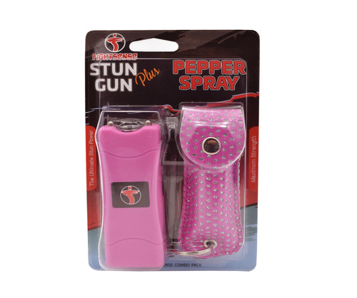 Mini Stun Gun and Pepper Spray Combo Pack for Self Defense -Extremely Powerful Pink Bling