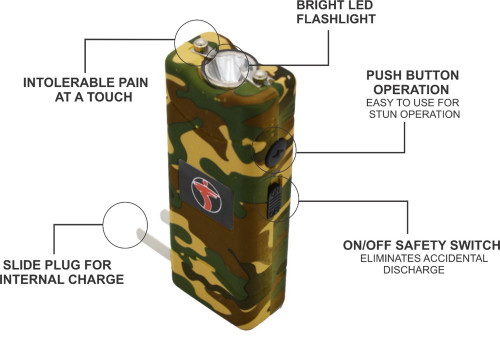 FIGHTSENSE Super Heavy Duty 45 Billion Stun Gun for Self Defense with Bright Led Flashlight, Rechargeable Battery, Nylon Holsters(Camouflage)