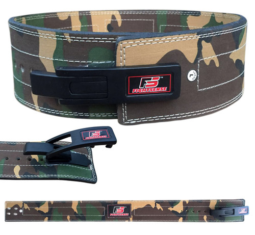 Nubuck Leather Weight Lifting Lever Pro Belt Back Support Gym Training Bodybuilding Camouflage Green
