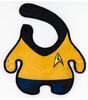 Star Trek Bib, Trekky baby gift, geeky baby shower gift, star trek uniform baby bib, parents who love Star Trek, Beam me up scotty baby, Captain kirk baby, funny baby gift for nerds, Yellow uniform, Captain Kirk baby bib