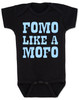 Fomo like a mofo, funny baby gift, fear of missing out, ready to get out and have fun, fun baby gift, party parents baby gift, ready to party baby onesie, fomo baby bodysuit, black