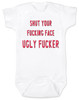 South park baby bodysuit, Terrance and Phillip song, offensive baby bodysuit, shut your fucking face you ugly fucker, classic cartoon baby gift, south park baby gift, shut up baby bodysuit, shut your ugly face, funny baby gift for south park fans, red on white