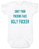 South park baby bodysuit, Terrance and Phillip song, offensive baby bodysuit, shut your fucking face you ugly fucker, classic cartoon baby gift, south park baby gift, shut up baby bodysuit, shut your ugly face, funny baby gift for south park fans, blue on white