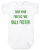 South park baby bodysuit, Terrance and Phillip song, offensive baby bodysuit, shut your fucking face you ugly fucker, classic cartoon baby gift, south park baby gift, shut up baby bodysuit, shut your ugly face, funny baby gift for south park fans, green on white