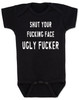 South park baby bodysuit, Terrance and Phillip song, offensive baby bodysuit, shut your fucking face you ugly fucker, classic cartoon baby gift, south park baby gift, shut up baby bodysuit, shut your ugly face, funny baby gift for south park fans, white on black