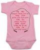 Freddy Krueger movie, freddy baby bodysuit, baby gift for parents who love horror movies, horror movie baby bodysuit, movie quote on baby bodysuit, 1 2 freddy's coming for you, song from freddy movie on baby shirt, pink