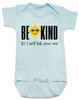 Be kind baby onesie, be kind or I'll kick your ass, funny be kind baby onesie, being kind is cool, funny saying on baby bodysuit, funny offensive baby shower gift, blue