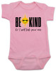 Be kind baby onesie, be kind or I'll kick your ass, funny be kind baby onesie, being kind is cool, funny saying on baby bodysuit, funny offensive baby shower gift, pink