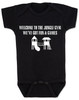 Welcome to the jungle guns and roses, classic rock themed baby gift, rock band baby onesie, Jungle Gym baby bodysuit, guns and roses baby bodysuit, funny rock and roll baby bodysuit, black