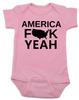 America Fuck Yeah Baby Bodysuit, American pride, funny patriotic baby onsie, badass american baby, 4th of july Bodysuit, memorial day Bodysuit, veterans day Bodysuit, Team America song, Team America: World Police Movie, pink