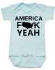 America Fuck Yeah Baby Bodysuit, American pride, funny patriotic baby onsie, badass american baby, 4th of july Bodysuit, memorial day Bodysuit, veterans day Bodysuit, Team America song, Team America: World Police Movie, blue