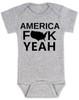 America Fuck Yeah Baby Bodysuit, American pride, funny patriotic baby onsie, badass american baby, 4th of july Bodysuit, memorial day Bodysuit, veterans day Bodysuit, Team America song, Team America: World Police Movie, grey