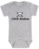 Little Badass Baby Bodysuit, rock and roll baby onsie, gift for cool parents, skull and crossbones baby clothes, Personalized Little Badass Baby Bodysuit with custom name, grey
