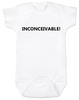 inconceivable baby Bodysuit, The Princess Bride movie quote, Punny Baby onsie, white