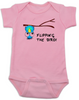 flipping the bird baby Bodysuit, middle finger, cute and funny baby onsie, blue bird, upside down bird, pink