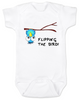 flipping the bird baby Bodysuit, middle finger, cute and funny baby onsie, blue bird, upside down bird