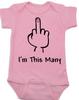 I'm This Many Baby Bodysuit, middle finger onsie, funny first birthday Bodysuit, personalized birthday Bodysuit, flipping the bird, I'm one baby bodysuit, pink
