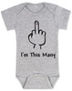 I'm This Many Baby Bodysuit, middle finger onsie, funny first birthday Bodysuit, personalized birthday Bodysuit, flipping the bird, I'm one baby bodysuit, grey