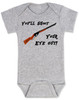 Christmas Story Movie Baby Bodysuit, Blue, You'll Shoot Your Eye Out, Christmas Vacation movie baby clothes, funny christmas Bodysuit, funny christmas baby clothes, funny holiday baby Bodysuit, grey