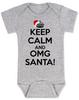 Keep Calm OMG Santa Bodysuit, Keep Calm, funny christmas baby onsie, funny christmas baby clothes, grey
