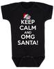 Keep Calm OMG Santa Bodysuit, Keep Calm, funny christmas baby onsie, funny christmas baby clothes, black